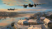 Nicolas Trudgian print, Mosquitos at Dusk, signed by 3 famous Mosquito pilots