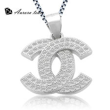 Women Fashion 925 Sterling Silver Crystal Pendant Necklace Chain Jewelry Gift