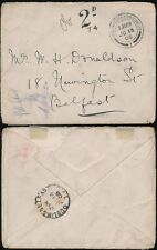 POSTAGE DUE 1906 UNPAID at ROCK FERRY BIRKENHEAD to IRELAND DUBLIN + BELFAST TPO