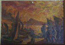 Old Russian Painting Vladivostok Kikoto Sztaibas Harbor Seascape