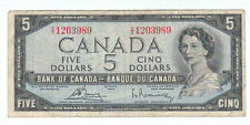 1954 Five Canadian Bill 5 Dollar Canada V/X 1203989 Circulated