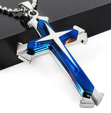 Cute Gift Unisex's Men Blue Silver Stainless Steel Cross Pendant Necklace Chain