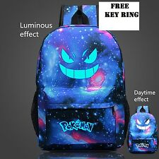 Back Pack Pokemon Gengar Face Luminous School Games Bag Blue sport backpack