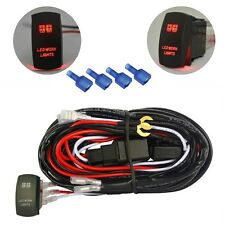 Wiring Harness Red LED Work Light Bar Laser Rocker Switch Relay Fuse On Off Road