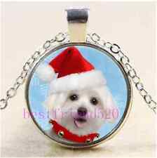 Christmas Maltese Puppy  Cabochon Glass Tibet Silver Chain Pendant Necklace#AD18