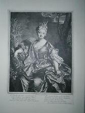 Planche gravure Portrait de Marguerite Henriette de la Briffe peint par Rigaud