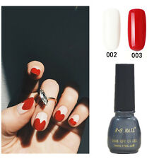 2X RS-Nail 002003 Gel Nail Polish UV LED Varnish Soak Off Red&White Heart New
