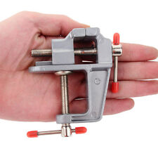 "3.5"" Aluminum Small Jewelers Hobby Clamp On Table Bench Vise Mini Tool New to"