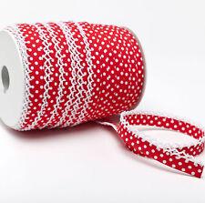 Schrägband Einfassband Häkelborte Borte rot mit weißen Punkten