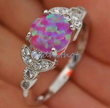 18K White Gold Filled - Pink Round Fire Opal & Topaz Ring SZ 6