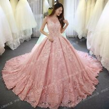 Vintage Luxury Pink Wedding Dress V Neck Lace Tulle Appliques Bridal Gown 2017