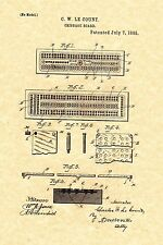 Patent Print - Antique Cribbage Board 1885 C. W. LeCount. Ready To Be Framed!