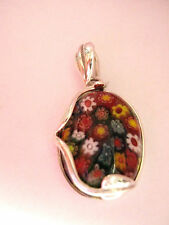 Sterling Silver Art Nouveau Mille Fiore 1000 Flowers  murano Glass Oval pendant