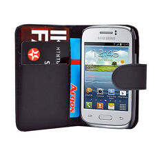 BLACK WALLET Leather Case Phone Cover Samsung Galaxy Young GT S-S6310L GT S6310N