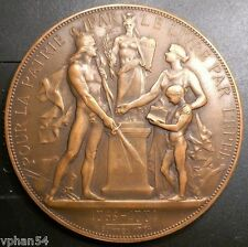 1884 French Bronze Art Medal Education Award by Alfred Borrel, 1922 RS. M.18a