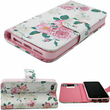 Flower Flip Stand PU Leather Card Slots Wallet Cover Case For Apple iPhone 5 5S