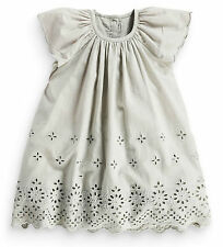 Next Girls 9-12 Months Grey Broderie Cotton Lace Tunic Dress *