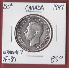 1947 Straight 7 Canada 50 Cent Silver Coin Fifty Half Dollar 5138   VF 30