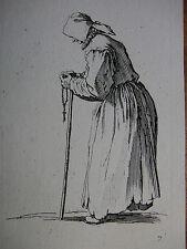 J. CALLOT ´BETTLERIN MIT ROSENKRANZ, LES GUEUX, BEGGAR WITH ROSARY´ L. 485 ~1623
