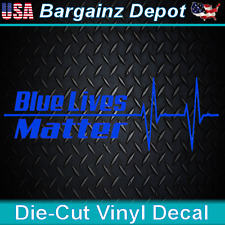 Vinyl Decal * BLUE LIVES MATTER * Heartbeat Car Sticker Police Thin Blue Line