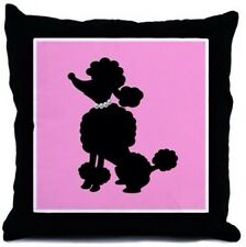 "French Poodle Paris Pink Black White Pearls Decor Throw Pillow 18"" Art Bedding"
