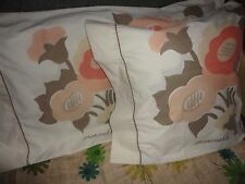 VINTAGE MARIMEKKO POPPY FLORAL GOLD BROWN MELON (PAIR) KING PILLOWCASES 21 X 37