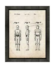 Star Wars C-3PO Patent Print Old Look in a Beveled Black Wood Frame
