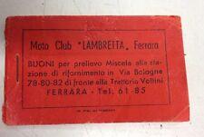Blocchetto d'epoca per buoni prelievo miscela Moto club Lambretta Ferrara