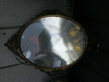 antique old convex oval brass picture art wall frame bubble glass art deco era