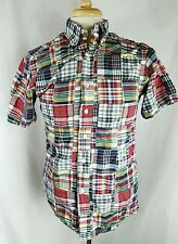 Mens BROOKS BROTHERS Patches Patchwork Plaid Button Down Shirt S/S Small S S1
