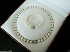 8mm white South Sea shell pearl bracelet earring and necklace k11