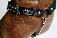 BLACK LEATHER MOTORCYCLE BIKE BOOT CHAINS STRAPS BIKER WESTERN COWBOY BUCKLE