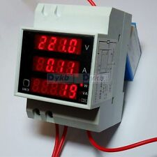 AC 110V 220V Digital DIN RAIL 100A watt power meter Ammeter Voltmeter 80-300V CT
