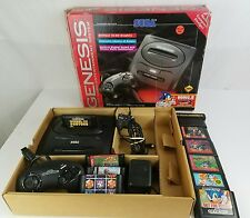 Sega Genesis System Console Complete in box lot - Model 2 - Sonic 2 - 10 games!