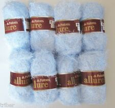 8 Skeins Patons ALLURE Eyelash Fur Yarn Aquamarine Pale Blue Discontinued