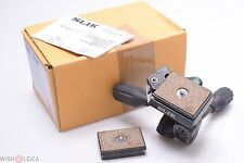 SLIK SMALL SH-704E 3 WAY TRIPOD HEAD 35MM NIKON, CANON, LEICA W/ 2 PLATES