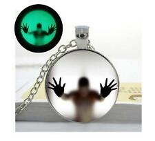 Glow in the Dark, Man Behind Glass Pendant Necklace
