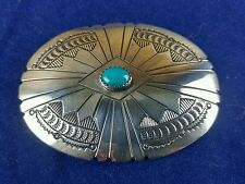 Vintage Native American Sterling Sliver & Turquoise Pin Brooch Pendant WW