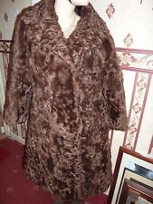 "Ladies real brown curly soft Lamb fur coat 40"" bust size 14 length 36"""