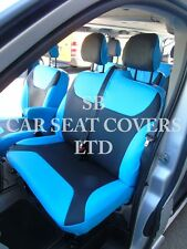 TO FIT A RENAULT TRAFIC 9 SEATER VAN, SEAT COVERS,2016, NEON BLUE LEATHERETTE