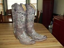Corral Boot Wing and Cross Brown Youth/Teen Embroidery Flowers Snip Toe