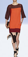 "$398 BCBG MAXAZRIA RUNWAY PAPRIKA ""IVEY"" 3/4 SLEEVE COLOR BLOCKED DRESS NWT XXS"
