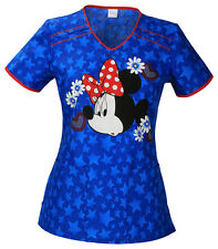 Cherokee Tooniforms Medical Scrubs Minnie Mouse Americana Top Sz Small NWT