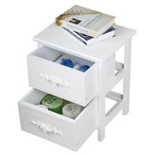 Shabby Chic Rose Handle Wooden Bedside Table Cabinets 2 Drawer Nightstand White