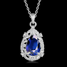 Women Necklace Blue Zircon Pendant 925 Silver Plated Fashion Jewelry LF