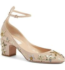 NWB Valentino 'Tango Star Studded Ankle Strap Beige Leather Pumps Sz 41 $1395.00