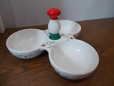 Pfaltzgraff, Christmas Winterberry Pattern, 3 Part Divided Serving Candy Dish