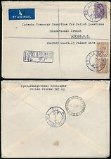 GB KG6 1946 AIRMAIL REGISTERED POLAND FPO 110 in BLUE to LONDON...1s 3d FRANKING