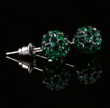 10mm Pave Crystal Rhinestones Ball Silver Plated Stud Earrings W19