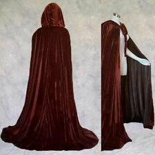 Lined Brown Velvet Renaissance Cloak Cape Star Wars Cosplay Wicca LOTR GOT LARP